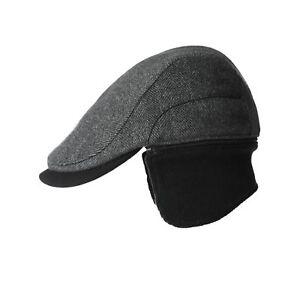 Siggi Wool Tweed Flat Cap Ivy Hat with Ear Flaps Warmer Winter ... 2b04b61cb31c