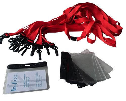 10 Security-Schlüsselbänder 15 mm breit blau oder rot mit PVC-Ausweishülle