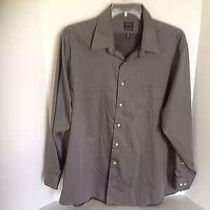 Arrow-Mens-size-18-34-35-Classic-Fit-Shirt-XL-Grey-Long-Sleeve-button-up-Shirt