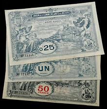 3 Billets 0,25+1+50 Francs, Union des Commerçants de Béziers. Vers 1920. France