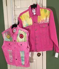 New * Levi's Lacoste RP 4 LF 2X 3X Tie Dyed Denim Jacket & Vest w Studs