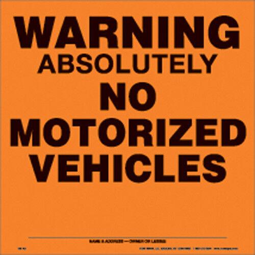 "Voss Signs 188 AN OA  Orange Alunimum Sign 11 1//4/"" .012 Gauge Warning No Vehicle"