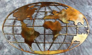 Metal art world map copper and bronze plated metal wall art decor ebay metal art world map copper and bronze plated gumiabroncs Gallery