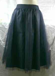 Bubble skirt, navy blue net fabric w/lining, below knee, size M or XL