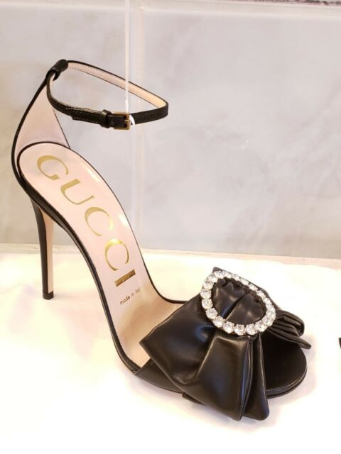6ec514741822 Gucci Ilse Crystal Embellished Bow Leather Sandals Shoes NEW SZ 7.5 ...