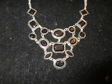 Statement Collar Necklace Silver Tone Black Jeweled Shiny Cocktail Party Thick