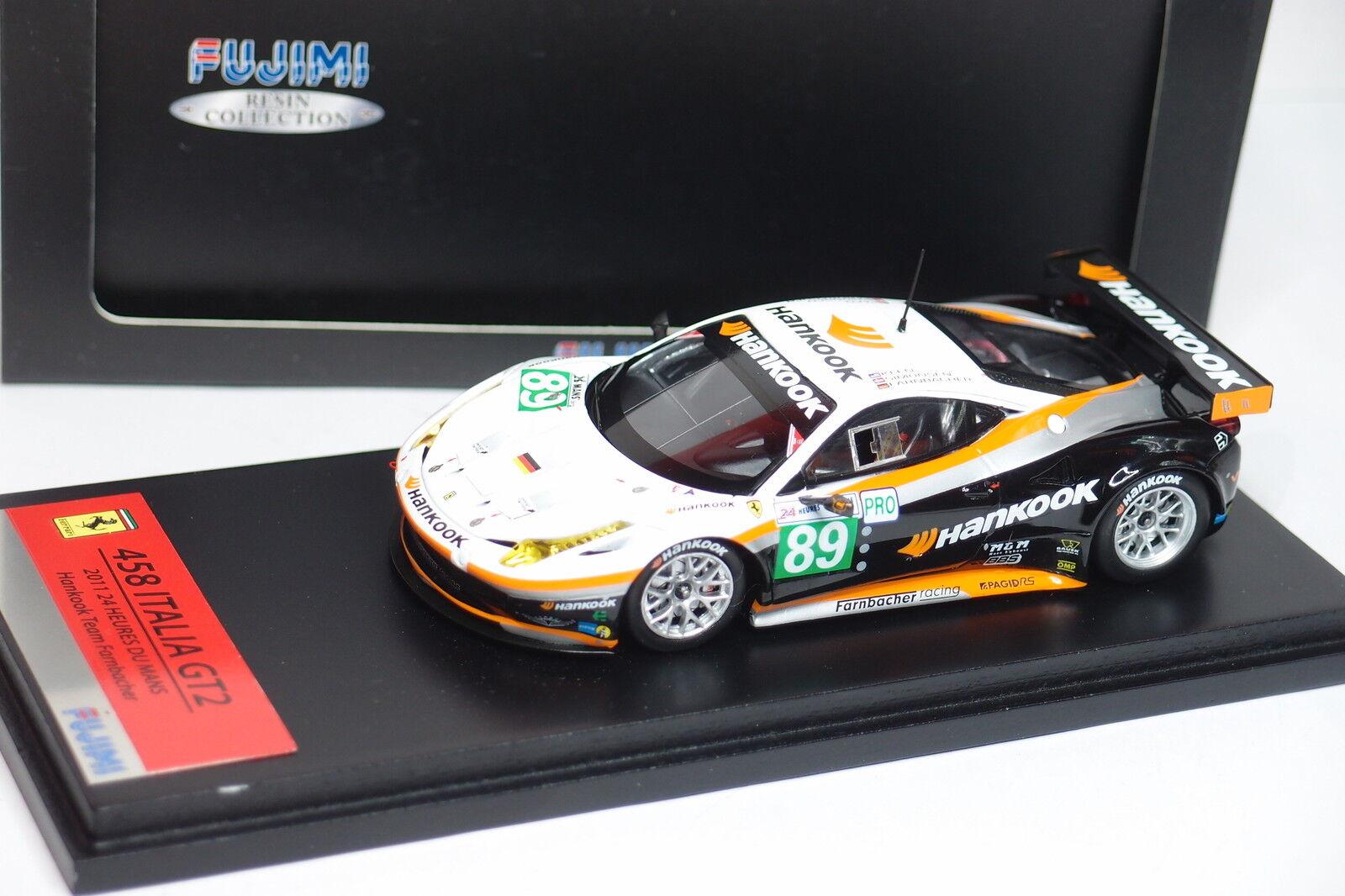 FUJIMI FERRARI 458 ITALIA GT2  89  LE hommeS 2011 TEAM FARNBACHER 1 43  avec le prix bon marché pour obtenir la meilleure marque
