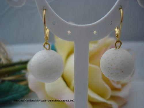 Ohrringe aus Schaumkorallen 16mm Weiß Brisur 925 Silber vergoldet TOP