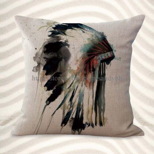 US Vendeur-Lot de 2 Native American coiffure eau couleur Housse de coussin DECORATIV