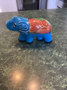Bea-Mexican-Folk-Art-Hand-Painted-Pottery-Elephant-w-Flower-amp-Bird