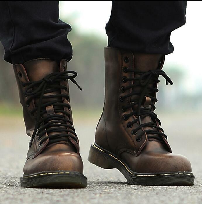 Mens leather Tactical Military Army Combat Desert Lace Up Ankle Boots shoes hot