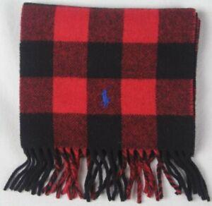 Polo Ralph Lauren Red Black Plaid Wool Scarf Blue Pony NWT