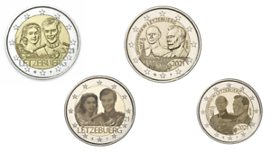 4 x 2 Euros Commémorative Luxembourg 2021 Duc + Mariage 2 Versions