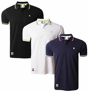 FENCHURCH-Casual-Cotone-Polo-Pique-T-Shirt-Top-Retro-Nuovo-Nero-Bianco-Blu