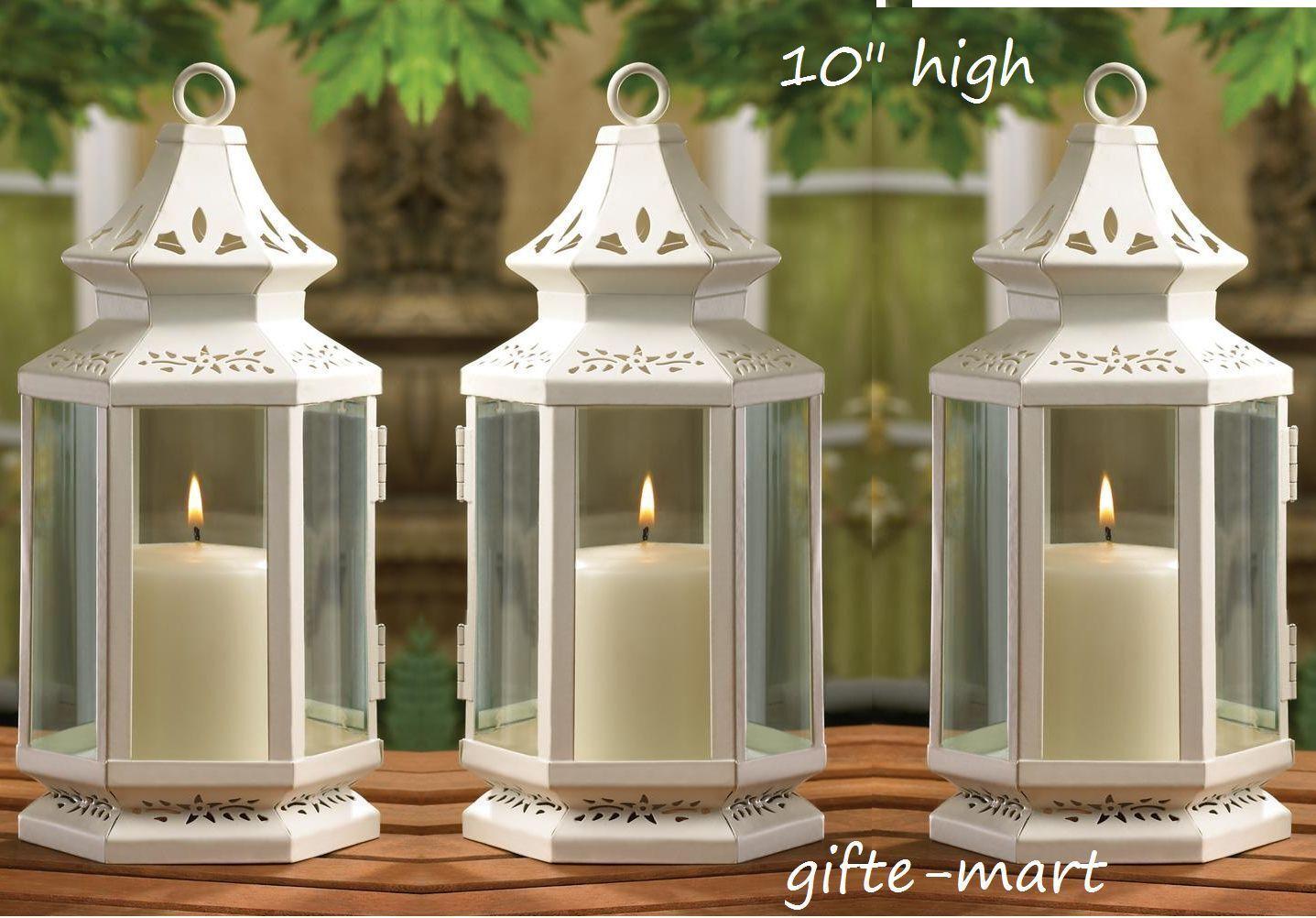 4 White 10  shabby whitewashed candle holder lantern wedding table centerpiece