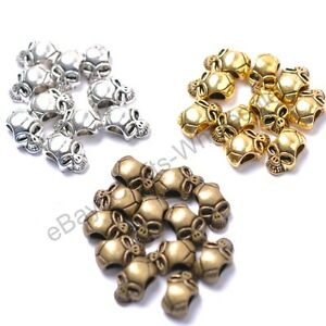 10Pcs-Tibetan-Silver-Gold-Bronze-Charms-Skull-Loose-Spacer-Beads-12X8MM-D809