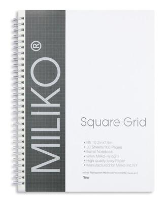 "MILIKO TRANSPARENT HARDCOVER B5 10/"" x 7.5/"" SIZE SPIRAL ONE NOTEBOOK DOT GRID"