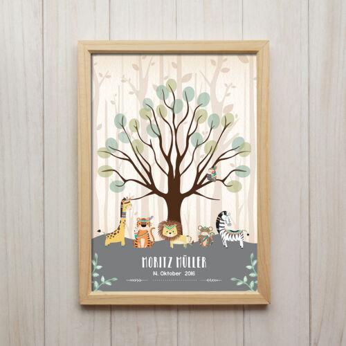 Personalisiertes Bild Baby Geburtstag Kunstdruck A4 Dschungel Tiere Kinderzimmer