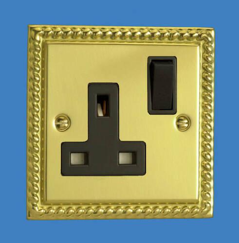 13 Amp Wall Single Plug Socket 1 Gang Bright Brass GEORGIAN Style Plate