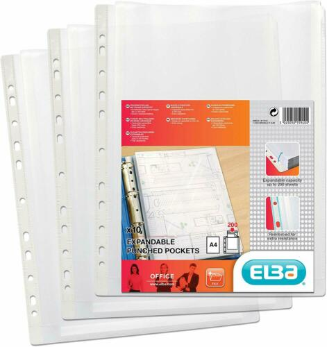 Elba A4 Expanding Punched Pockets Pack of 10 120 Micron Glass Clear