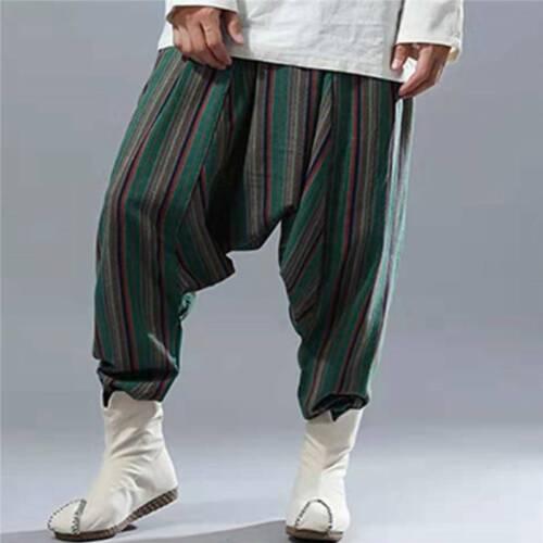 Men Harem Pants Ali Baba Aladdin Boho Gypsy Baggy Drop Crotch Trousers Casual