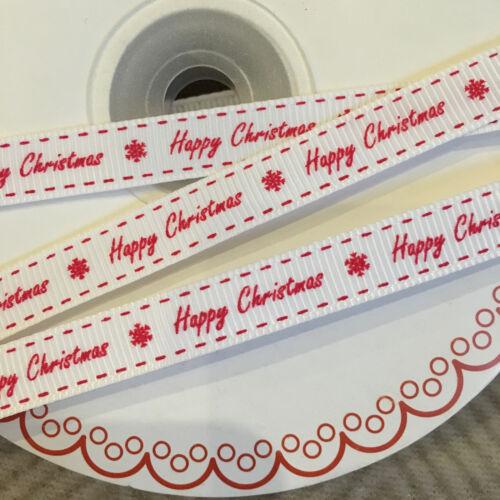 1m 3m 5m 10m Berties Bows 9mm Happy Christmas White /& Red Ribbon Christmas