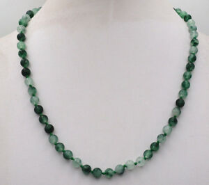 6mm-Natural-Noble-Green-Jade-Gemstone-Round-Beads-Necklace-18Inch