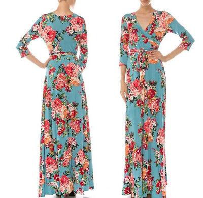 M * Janette BOUTIQUE Teal Blue Rose FLORAL Jersey Faux Wrap MAXI DRESS Tea Party