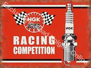 Vintage Garage NGK Spark Plugs Motorcycle Motor Car Racing Small Metal Tin Sign
