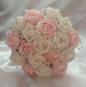 Artificial Flowers Pink White Foam Rose Wedding Bridesmaid Bouquet