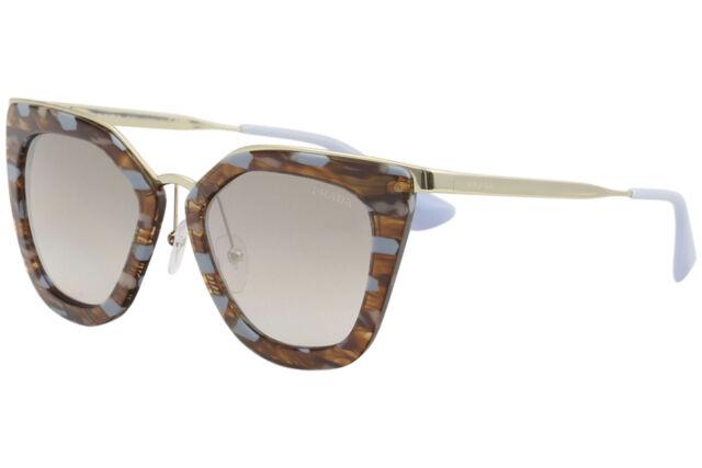 Prada Women's SPR53S SPR/53S KJO/4O0 Striped Brown/Azure Cat Eye Sunglasses 52mm