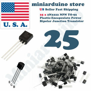 25pcs-2N2222A-NPN-2N2222-TO-92-Plastic-Encapsulate-Power-Transistors-40V-ECB
