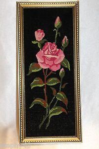 "Shabby Chic Pink Rose Cross Stitch on Black Background Gold Frame 16"" x 7"""