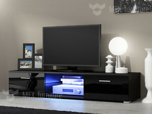 Image Is Loading Modern TV Unit Cabinet Stand Black Matt And