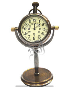 Collectible-Victorian-Style-Table-Top-Desk-Brass-Clock-Watch-a-Christmas-Gift