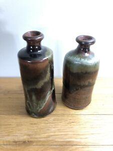 Set-of-2-Handmade-Red-Black-Pottery-Flower-Vase-Earhart-Studios-034-Bend-Oregon