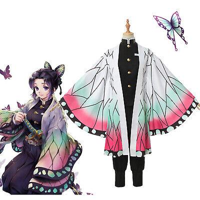 Anime Demon Slayer Kimetsu no Yaiba Kochou Shinobu Cosplay Costume Kimono Outfit