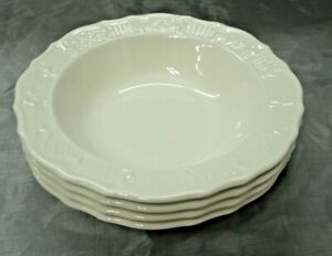 "Vtg Canonsburg Pottery AMERICAN TRADITIONAL Set of 4-7+"" Rim Cereal Bowls USA"