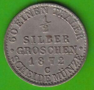 Prussia 1/2 Silver Pennies 1872 C Good Very Fine Seltener nswleipzig