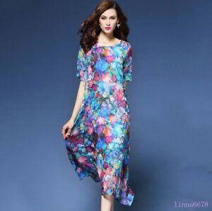Women-039-s-Silk-Retro-Flowers-Print-Short-Sleeve-Casual-Long-Dresses-Summer-beach