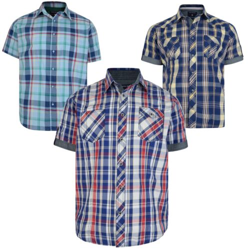 Kam Mens Short Sleeve Cotton Shirts Big /& Tall King Size Casual Checked