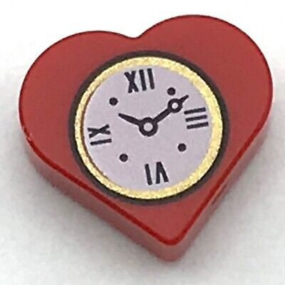 Lego New Red Tile Round 1 x 1 Heart with Clock Pattern Valentines Day Love Token