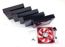 "5 PC 120mm 12cm 6.5"" Red 4 LED LEDs Case Power Supply Fan 3/4 Pin DC 12V Sleeve"