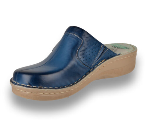 Blue New UK LEON 360 Ladies Women Leather Slip On Mules Clogs Slippers Sandals