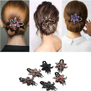 Pins-Comb-Women-039-s-Slide-Hair-Clips-Flower-Hairpin-Grips-Accessories-Crystal