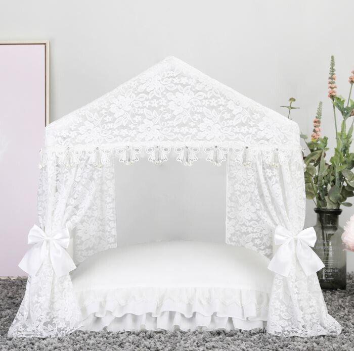 New Princess Handmade Lace Pet Dog Cat Bed House Tent Sofa Cushion White