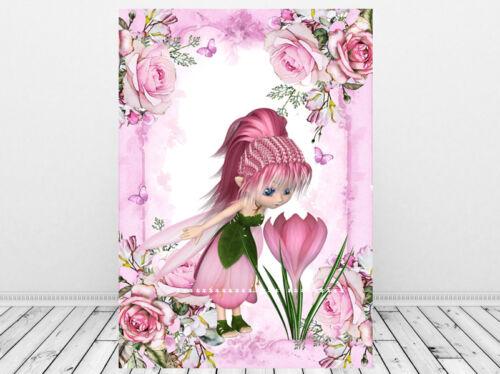 Flower Fairy Print,Fairy Picture Gift,Girls Nursery Wall Art Pink