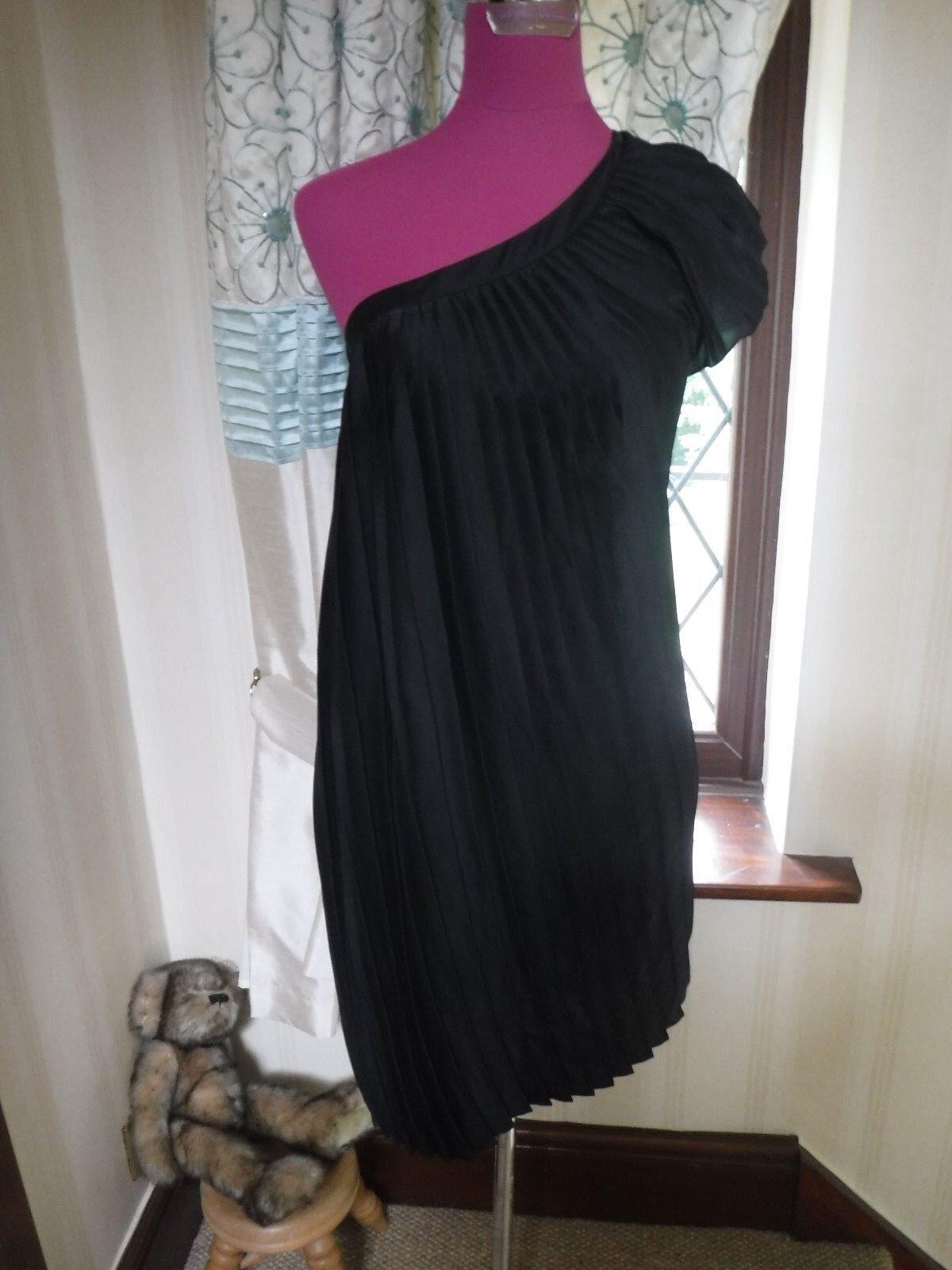 Splendido TUTTI I SANTI MAIA monospalla vestito nero taglia 8 condizioni eccellenti