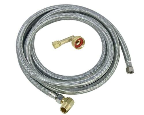 10 FT 90 degree elbow Dishwasher Hose Stainless Steel Braided Supply Line