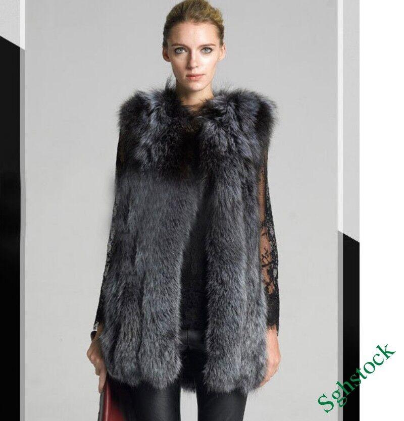 Luxury Womens Winter Faux Fox Fur Clothing Sleeveless Long Vest Coat Parka M-3XL